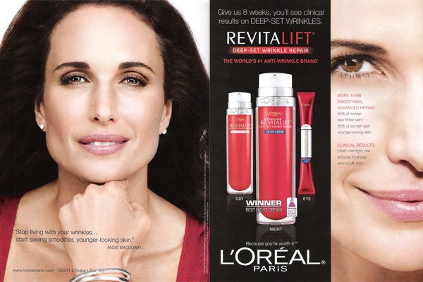 Andie MacDowell L'Oreal beauty cosmetics celebrity endorsements