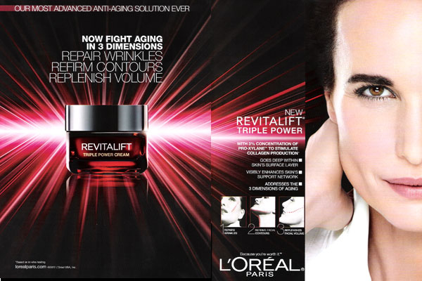 Andie MacDowell L'Oreal celebrity endorsements