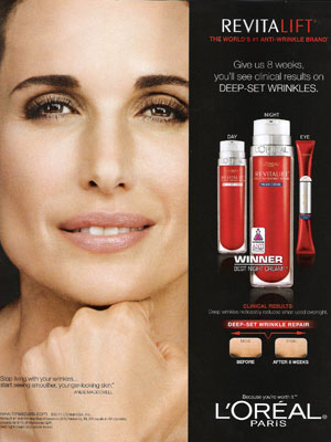 Andie MacDowell L'Oreal cosmetics beauty celebrity endorsements