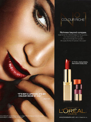 Beyonce Knowles Loreal lipstick beauty celebrity endorsements