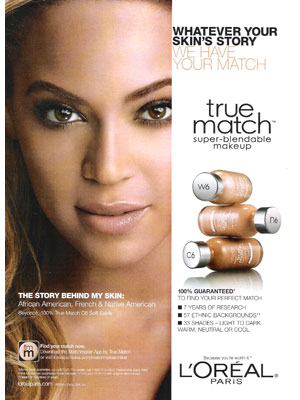 Beyonce Loreal True Match celebrity endorsements