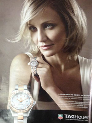 Cameron Diaz Tag Heuer celebrity endorsement ads