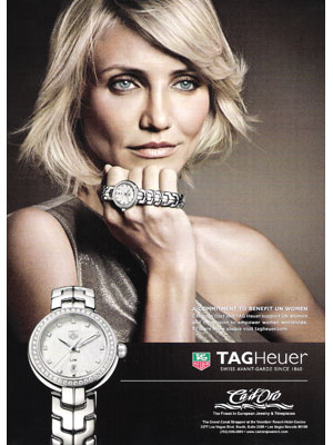 Cameron Diaz Tag Heuer perfume celebrity endorsements