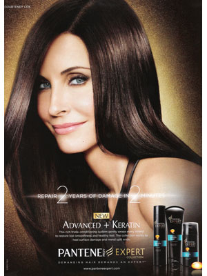 Courteney Cox Pantene celebrity endorsement adverts