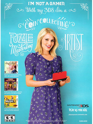 Dianna Agron Nintendo DS3 celebrity endorsements