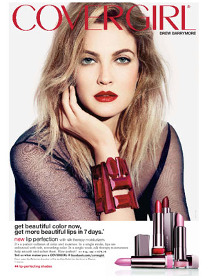 Drew Barrymore CoverGirl Lip Perfection celebrity endorsements