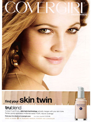 Drew Barrymore Covergirl Trublend makeup celebrity endorsements