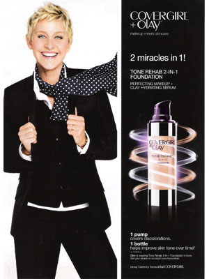 Ellen Degeneres CoverGirl Olay celebrity endorsement advertising