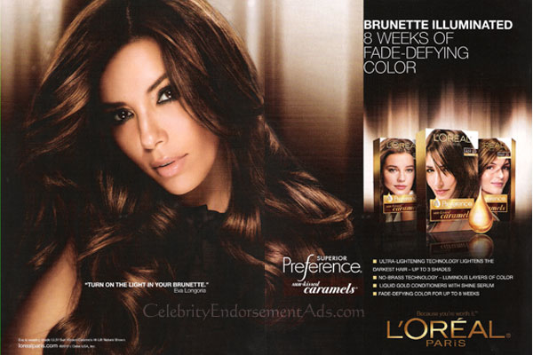 Eva Longoria Loreal celebrity endorsement adverts