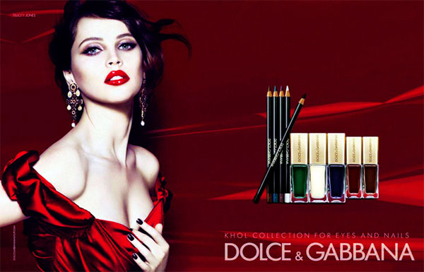 Felicity Jones Dolce and Gabbana makeup celebrity endorsement ads