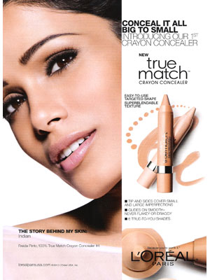 Freida Pinto L'Oreal makeup celebrity endorsement ads