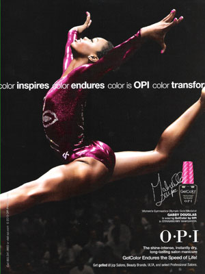 Gabby Douglas OPI Gel Color celebrity endorsement adverts
