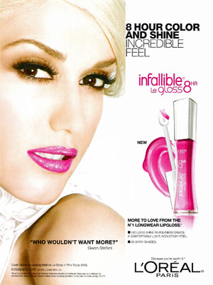 Gwen Stefani Loreal celebrity endorsements