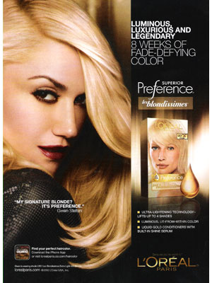 Gwen Stefani Loreal celebrity endorsement adverts