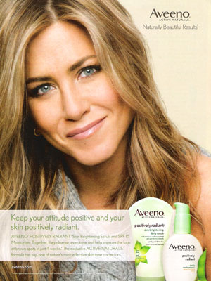 Jennifer Aniston Aveeno Print Ad