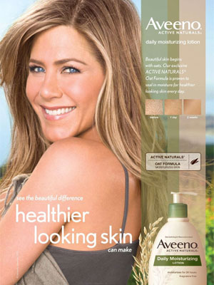 Jennifer Aniston Aveeno endorsement celebrity beauty ads