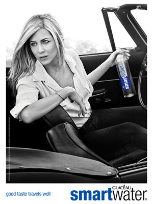 Jennifer Aniston Smart Water celebrity endorsement adverts