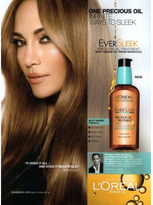 Jennifer Lopez L'Oreal Argan Oil celebrity endorsement adverts