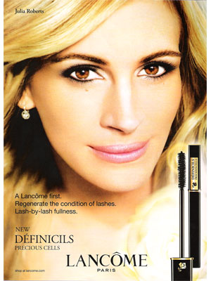 Julia Roberts Lancome cosmetcis beauty celebrity endorsements