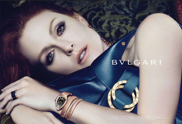 Julianne Moore for Bvlgari Spring fashions celebrity endorsements