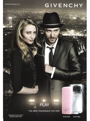 Justin Timberlake Givenchy Play fragrances