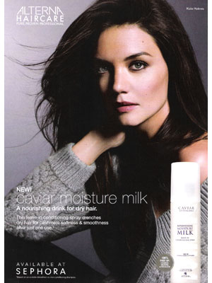 Katie Holmes Alterna haircare endorsement celebrity ads