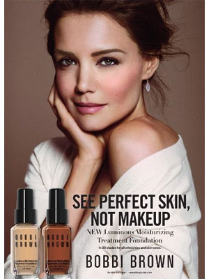 Katie Holmes Bobbi Brown Foundation celebrity makeup ads endorsements