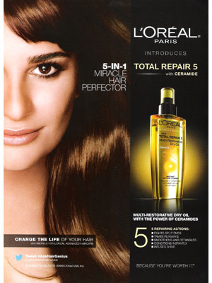Lea Michele L'Oreal Paris celebrity endorsement ads