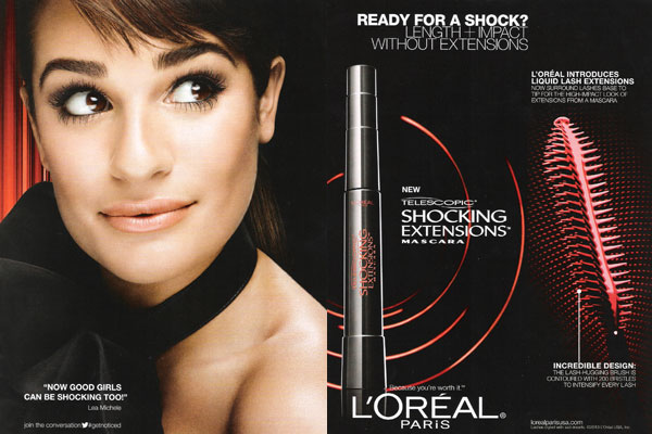Lea Michele L'Oreal celebrity endorsement adverts