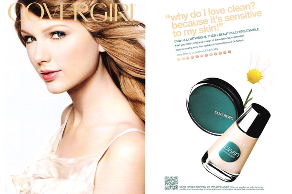 Taylor Swift CoverGirl makeup celebrity endorsements