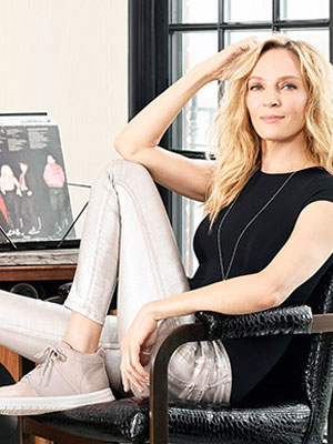 Uma Thurman fitflop celeb fashion ads