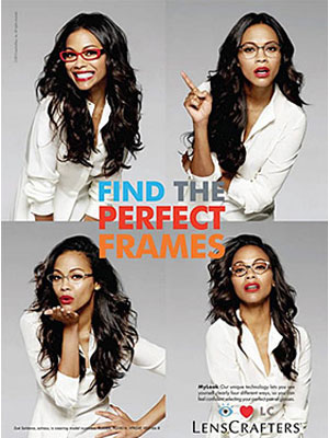 Zoe Saldana LensCrafters celebrity endorsements
